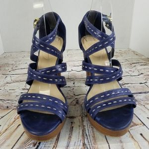 UGGc Blue Platform Wedge Heel Sandals